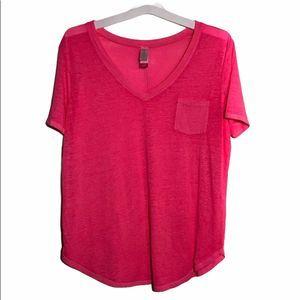 Neon Pink V-neck T-shirt w/ pocket